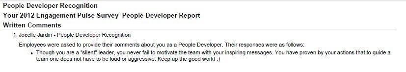 Best Compliment Received: PeopleDeveloper