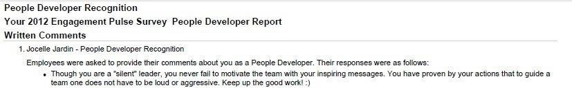 Best Compliment Received: People Developer