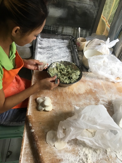 Dumpling making in action